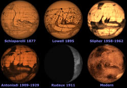 6 Mars globes compared, 1877 to 21st cent.